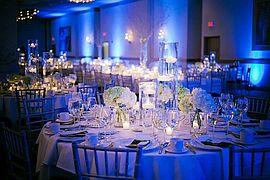 Saalbeleuchtung. Hochzeitsmotto: BLAU